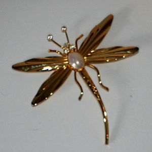 Jewelry - Large Gold and Rhinestone Dragonfly Pin